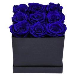 Cutie neagra cu trandafiri albastri conservati