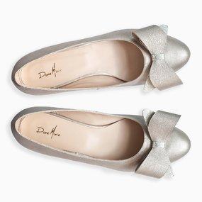 Balerini argintii din piele naturala cu funda Alyssa