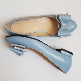 Balerini din piele naturala bleu Eleanor