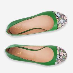 Balerini din piele naturala verde cu flori Tessie