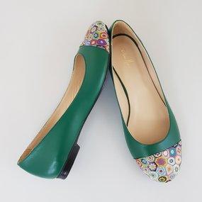 Balerini din piele naturala verde Octavia