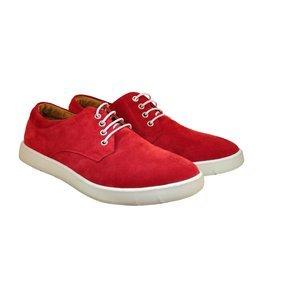 Pantofi barbatesti din piele intoarsa rosie
