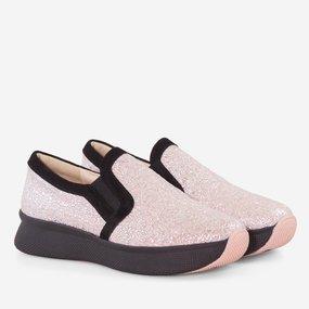 Pantofi casual din piele naturala roz Rosario