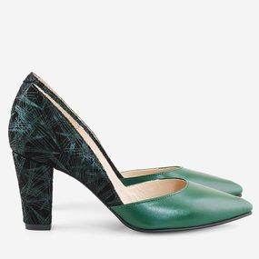 Pantofi cu toc comod din piele naturala verde Hanita