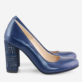 Pantofi cu toc din piele naturala bleumarin Ellington