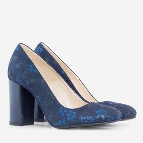 Pantofi cu toc gros din piele naturala bleumarin Ingrid