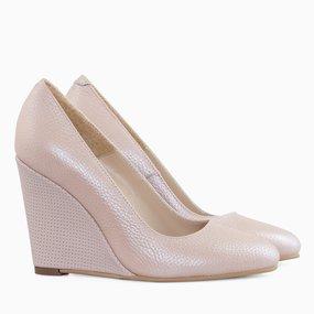 Pantofi cu toc ortopedic din piele roz Nessa