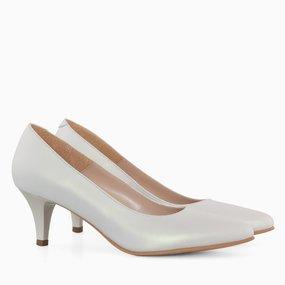 Pantofi dama cu toc comod din piele naturala alb perlat Alexia