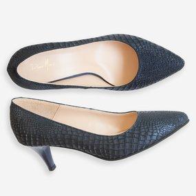 Pantofi dama cu toc comod din piele naturala bleumarin Tasha
