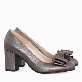 Pantofi dama cu toc comod din piele naturala bronz Helen