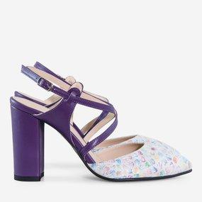 Pantofi dama cu toc din piele naturala mov San Juan