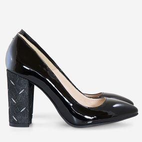 Pantofi dama din piele lacuita neagra Gianna