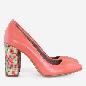 Pantofi dama din piele naturala corai Sorbet