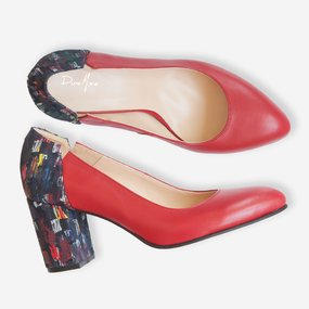 Pantofi dama din piele naturala rosie Leticia