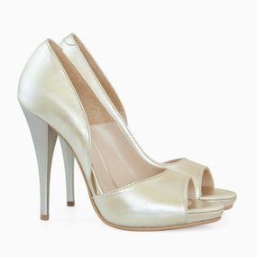 Pantofi de ocazaie din piele naturala aurie Milan