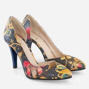 Pantofi decupati cu print floral Takala