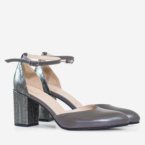 Pantofi decupati din piel naturala gri Adela