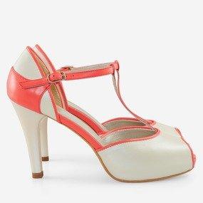 Pantofi decupati din piele naturala beige cu corai Denisa