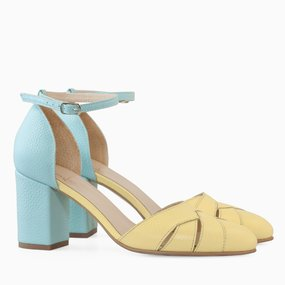 Pantofi decupati din piele naturala galbena Lemon
