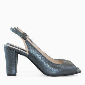 Pantofi decupati din piele naturala gri antracit Azaria