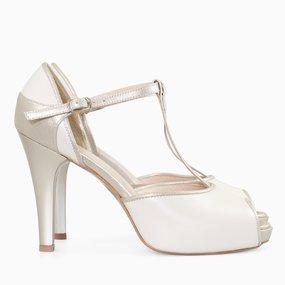 Pantofi decupati din piele naturala ivoire Florine