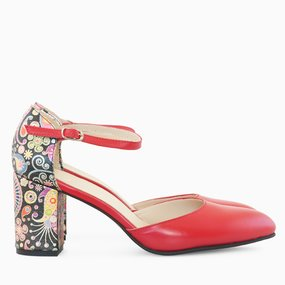 Pantofi decupati din piele naturala rosie Bijou