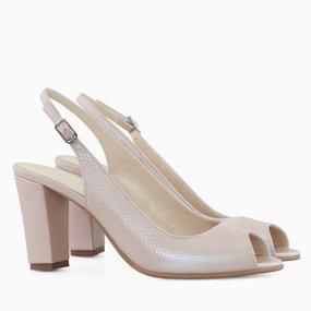 Pantofi decupati din piele naturala roz Cassy