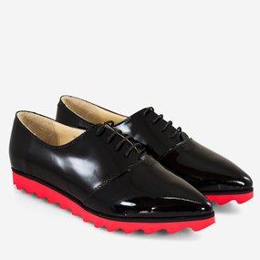 Pantofi oxford din lac negru Adine