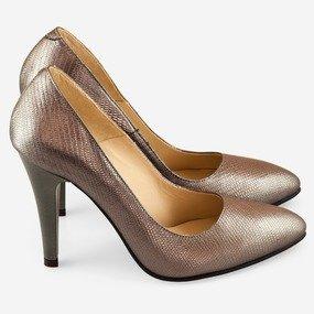 Pantofi stiletto din sarpe bronz Claudette