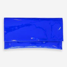 Plic din piele naturala lacuita albastru electric