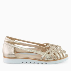 Sandale cu talpa joasa din piele naturala aurie Afternoon