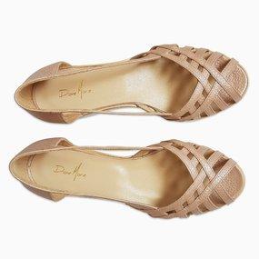 Sandale cu talpa joasa din piele naturala roz Ava
