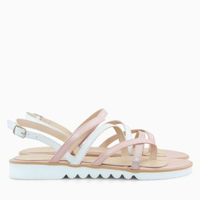 Sandale cu talpa joasa din piele naturala roz Miley