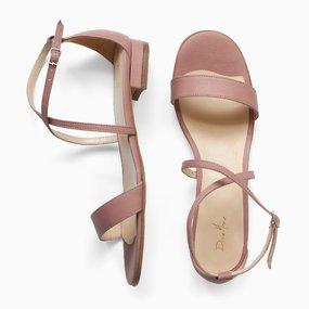 Sandale cu talpa joasa din piele naturala roz Napoli