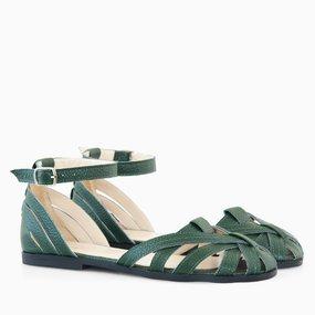 Sandale cu talpa joasa din piele naturala verde Donna