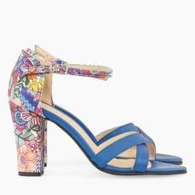 Sandale cu toc din piele naturala albastra Kailee