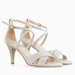 Sandale cu toc din piele naturala aurie Agnes
