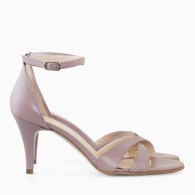 Sandale cu toc din piele naturala grej Simone