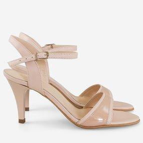 Sandale cu toc din piele naturala nude Jinx