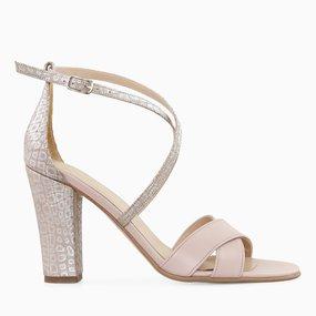 Sandale cu toc din piele naturala nude somon Linda