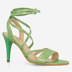 Sandale cu toc din piele naturala vernil sidef Dillon