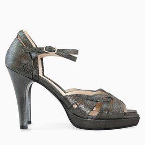 Sandale dama cu toc din piele naturala antracit sidef Zora
