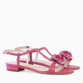 Sandale dama fuchsia din piele naturala cu pampon Jenny