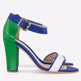 Sandale din piele naturala albastru cu verde Fontana