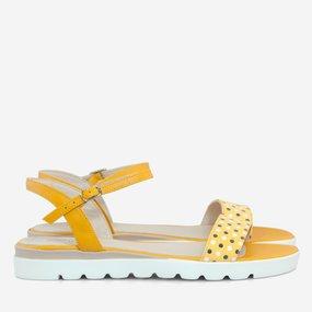 Sandale din piele naturala galben cu buline Lemon