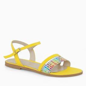 Sandale din piele naturala galbena Kendall