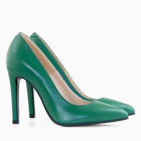 Stiletto din piele naturala verde Antonella