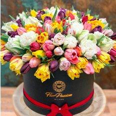 Tulips Box | Organic Flowers | Slow Flowers | Send Flowers to Milan