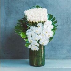 White Roses and Orchids Arrangement | Send Flowers to Milan | Luxury Florist