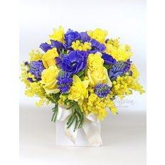 Blue and Yellow Bouquet | Send Spring Flowers to Milan | FlorPassion